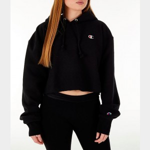 Women's Champion Reverse Weave Crop Hoodie Black Sales