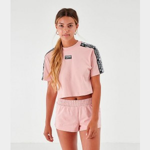 Women's adidas Originals Tape Crop T-Shirt Pale Pink/Black/White Sales