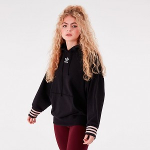 Women's adidas Originals Oversized Hoodie Black/Pink Sales