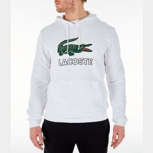 Men's Lacoste Big Croc Script Hoodie White Sales