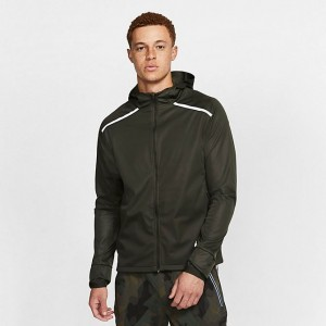 Men's Nike Shield Hooded Running Jacket Sequoia Sales