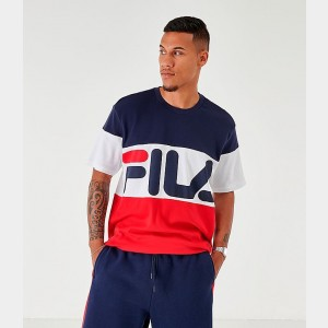 Men's Fila Lenox T-Shirt White/Navy Sales