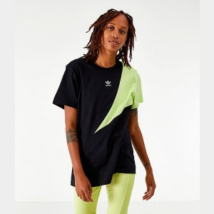 Women's adidas Originals Boyfriend T-Shirt Black/Yellow Sales