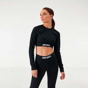 Women's Nike Sportswear Long-Sleeve Crop Top Black Sales