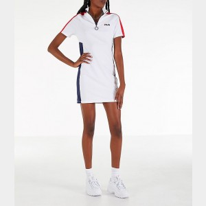 Women's Fila Lucrecia Dress White/Red Sales