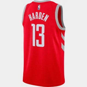 Men's Nike Houston Rockets NBA James Harden Icon Edition Connected Jersey University Red/Silver Sales