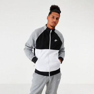 Men's Nike Sportswear Colorblock Club Fleece Track Jacket Black/White/Grey Sales