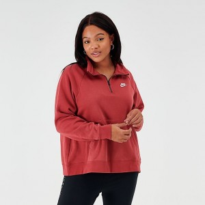 Women's Nike Sportswear Essential Quarter-Zip Fleece Top (Plus Size) Cedar Sales