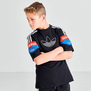 Boys' adidas Originals Spirit T-Shirt Black/Red/Blue Sales