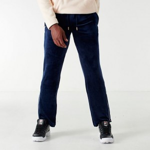Men's Fila Cyrus Velour Track Pants Peacoat/White Sales