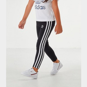 Girls' Toddler and Little Kids' adidas Originals 3-Stripes Leggings Black/White Sales