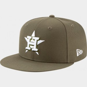 New Era Houston Astros MLB 9FIFTY Snapback Hat Olive Sales