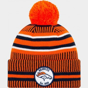 New Era Denver Broncos NFL Home Striped Sideline Beanie Hat Team Colors Sales