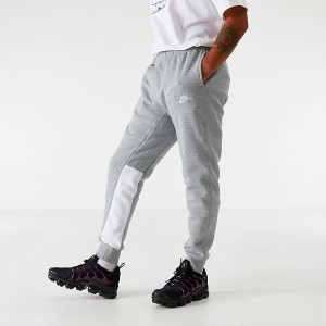 Men's Nike Sportswear Colorblock Club Fleece Jogger Pants Grey/White Sales