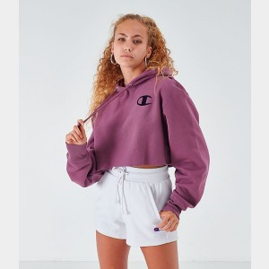 Women's Champion Reverse Weave Arm Script Crop Hoodie Cranberry Mauve Sales