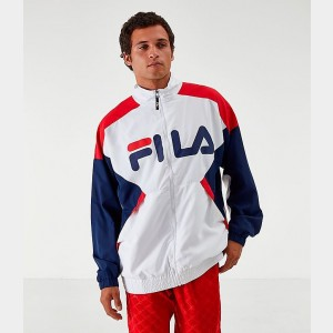 Men's Fila Oliviero Woven Track Jacket White/Red/Navy Sales