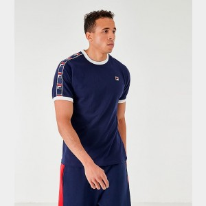 Men's Fila Luca T-Shirt Navy Sales