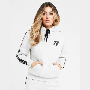 Women's SikSilk Tape Hoodie Grey Sales