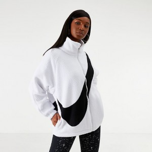 Women's Nike Sportswear Swoosh Sherpa Reversible Jacket White/Black Sales