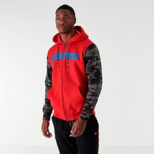 Men's Starter Camo Block Full-Zip Hoodie Red Sales