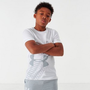 Boys' Under Armour Linear Logo T-Shirt White Sales