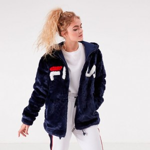Women's Fila Dolly Oversized Hoodie Navy/White/Red Sales