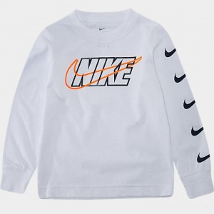 Boys' Toddler Nike Block Swoosh Long-Sleeve T-Shirt White Sales