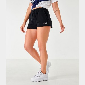 Women's Fila Kari Fleece Shorts Black Sales