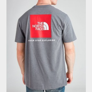 Men's The North Face Box T-Shirt Grey/Red Sales