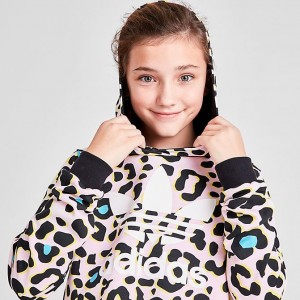 Girls' adidas Originals LZ Crop Hoodie Leopard Multi Sales