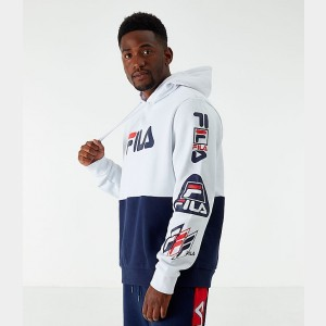 Men's Fila Branzino Hoodie White/Navy Sales