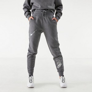 Women's Nike Sportswear Shine Jogger Pants Charcoal Heather/Metallic Silver Sales