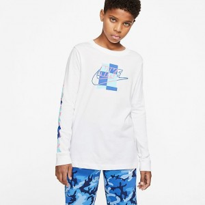 Kids' Nike Sportswear Futura Shapes Long-Sleeve T-Shirt White/Game Royal Sales