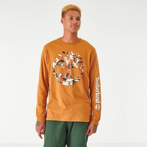 Men's Timberland Camo Logo Long-Sleeve T-Shirt Wheat Sales