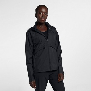 Women's Nike Essential Hooded Rain Jacket Black Sales
