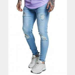 Men's SikSilk Distressed Jeans Blue Sales