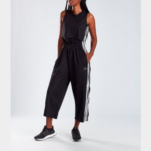 Women's adidas Athletics Cropped Leg Snap Jumpsuit Black/White Sales