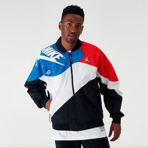 Men's Jordan Legacy AJ4 Lightweight Jacket Black/Military Blue/University Red Sales