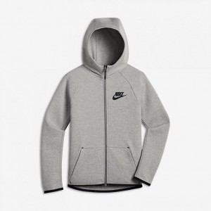 Kids' Nike Sportswear Tech Fleece Full-Zip Jacket Dark Grey Heather/Black/Black Sales