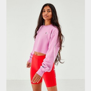 Women's Champion Reverse Weave Crop Crew Sweatshirt Pink Sales