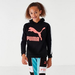 Girls' Puma Classic Archives Hoodie Black/Pink Sales