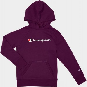 Girls' Champion Script Logo Hoodie Venetian Purple Sales