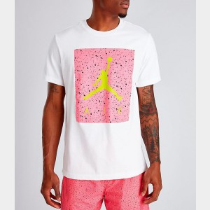 Men's Jordan Poolside T-Shirt White/Hyper Pink Sales