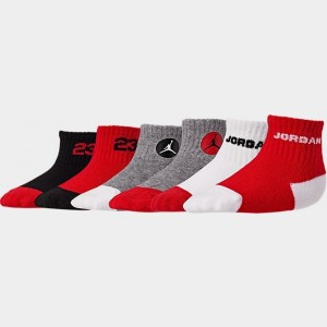 Infant Jordan 6-Pack Quarter Socks Red/Grey/White Sales