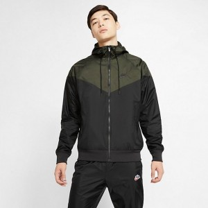 Men's Nike Sportswear Colorblock Windrunner Hooded Jacket Black/Sequoia/Black/Black Sales