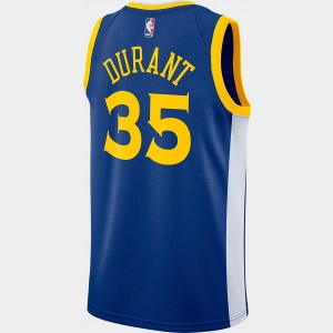 Men's Nike Golden State Warriors NBA Kevin Durant Icon Edition Connected Jersey Rush Blue/White/Amarillo Sales