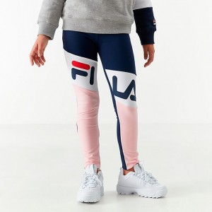 Girls' Fila Kirstie Leggings Navy/Pink/White Sales