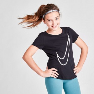Girls' Nike Scoop Swoosh T-Shirt Black Sales