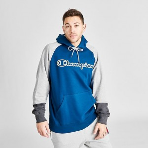Men's Champion Colorblock Hoodie Blue/Grey Sales
