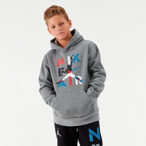 Boys' Jordan AJ4 Fleece Hoodie Carbon Heather Sales